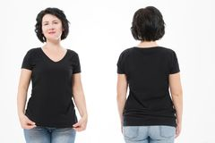 Women black blank t shirt, front and back rear view isolated on white background. Template shirt, copy space and mock up for print. Design royalty free stock photography