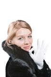 Women in black fur coat - ok Stock Image