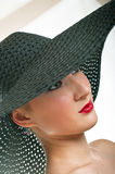 Women in black hat Royalty Free Stock Photography