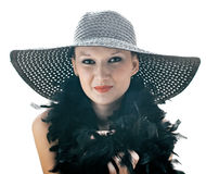 Women in black hat Stock Images