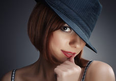 Women with black hat and red lips Stock Image