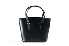 Women black leather bag. Royalty Free Stock Photography