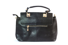 Women black leather handbag Stock Image