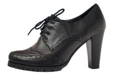 Women black leather shoes Royalty Free Stock Photo