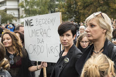 Women Black Protest in Warsaw Royalty Free Stock Photos