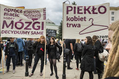 Women Black Protest in Warsaw Stock Images