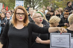 Women Black Protest in Warsaw Stock Photography