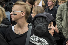 Women Black Protest in Warsaw Stock Image