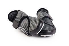 Women black stylish sport shoes isolated. Women stylish sport shoes isolated on white Stock Photography
