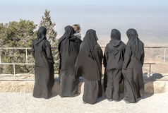 Women with black veil on Mount Nebo Royalty Free Stock Photo