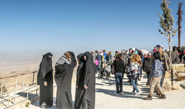 Women with black veil on Mount Nebo Stock Photo