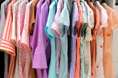 Women blouses. On sale in boutique stock image