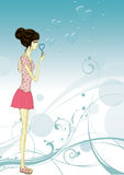 Women Blowing Bubbles Stock Photo