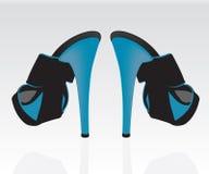 Women blue shoes. Beautiful fashion  blue women shoes Royalty Free Stock Photo
