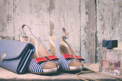 Women blue shoes and bag.  Royalty Free Stock Photo