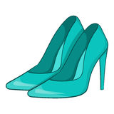 Women blue shoes icon, cartoon style Royalty Free Stock Image