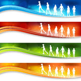 Women Blurry Light Banners. A set of banners with active women figures Royalty Free Stock Photography