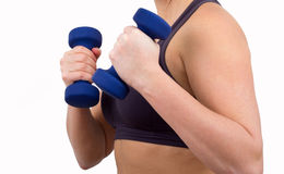 Women body exercising. With dumbell royalty free stock image