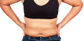 Women body fat belly Royalty Free Stock Photo