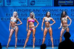 Women Bodyfitness championship in Tyumen. Russia. Tyumen, Russia - May 28, 2011: European Women Bodybuilding, Fitness, Bodyfitness, Bikini and Men Fitness Stock Photos