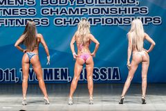 Women Bodyfitness championship in Tyumen. Russia. Tyumen, Russia - May 28, 2011: European Women Bodybuilding, Fitness, Bodyfitness, Bikini and Men Fitness Royalty Free Stock Photos
