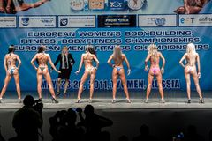 Women Bodyfitness championship in Tyumen. Russia. Tyumen, Russia - May 28, 2011: European Women Bodybuilding, Fitness, Bodyfitness, Bikini and Men Fitness Stock Photography