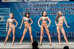 Women Bodyfitness championship in Tyumen. Russia. Tyumen, Russia - May 28, 2011: European Women Bodybuilding, Fitness, Bodyfitness, Bikini and Men Fitness Royalty Free Stock Images