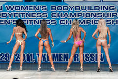 Women Bodyfitness championship in Tyumen. Russia. Tyumen, Russia - May 28, 2011: European Women Bodybuilding, Fitness, Bodyfitness, Bikini and Men Fitness Royalty Free Stock Image