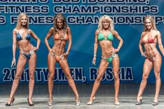 Women Bodyfitness championship in Tyumen. Russia. Tyumen, Russia - May 28, 2011: European Women Bodybuilding, Fitness, Bodyfitness, Bikini and Men Fitness Royalty Free Stock Photography