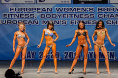 Women Bodyfitness championship in Tyumen. Russia. Tyumen, Russia - May 28, 2011: European Women Bodybuilding, Fitness, Bodyfitness, Bikini and Men Fitness Stock Images