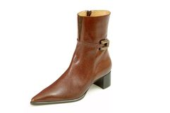 Women boot. Isolated brown leather women boot Royalty Free Stock Photos