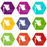Women boots icon set color hexahedron Royalty Free Stock Photos