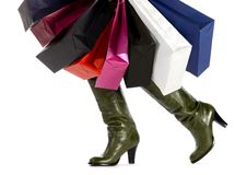 Women boots with paper bags Stock Image