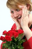 Women with bouquet Stock Photo