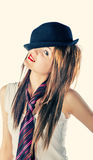 Women with bowler hat Royalty Free Stock Photo
