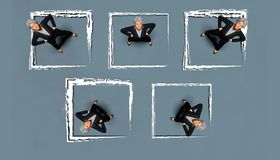 People in boxes. Stereotype concept putting women in boxes Royalty Free Stock Image