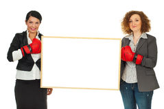 Women with boxing gloves and banner Royalty Free Stock Photo