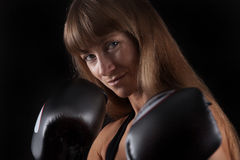 Women with boxing GLoves Royalty Free Stock Image