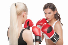Women boxing. Royalty Free Stock Photos