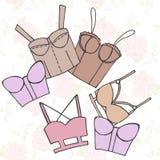 Women bra, doodle underwear, vintage lingerie Stock Photos