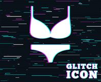 Women bra and panties icon. Intimates underwear. Glitch effect. Women bra and panties sign icon. Intimates underwear symbol. Background with colored lines Stock Photography