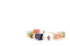 Women bracelet colorful Murano glass. Photo of Macro shot of jewelry. Women bracelet colorful Murano glass  on white background. Luxury wedding background Royalty Free Stock Photography
