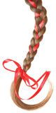 Women braid decorated with a red bow isolated on white. Royalty Free Stock Image