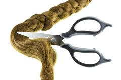 Women braid and scissors Royalty Free Stock Photography