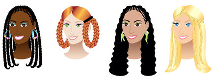 Women with Braids and Plaits. Vector Illustration set of four women with braids, plaits or cornrows Royalty Free Stock Image