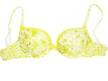 Women brassiere underwear. Women yellow brassiere underwear isolated stock image
