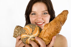 Women and bread Royalty Free Stock Photos