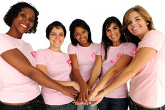 Women with breast cancer awareness ribbon Royalty Free Stock Photography