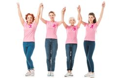 Women with breast cancer awareness ribbons holding hands and smiling at camera. Isolated on white royalty free stock image