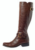 Women brown leather boots Royalty Free Stock Image